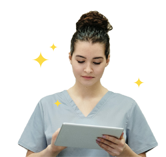 Female Doctor working on Tablet