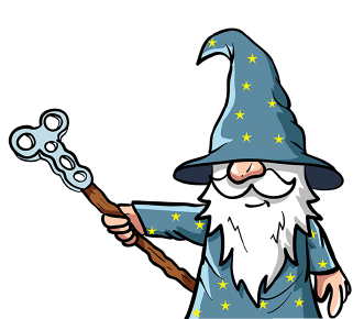 Teal Wizard Pointing Left
